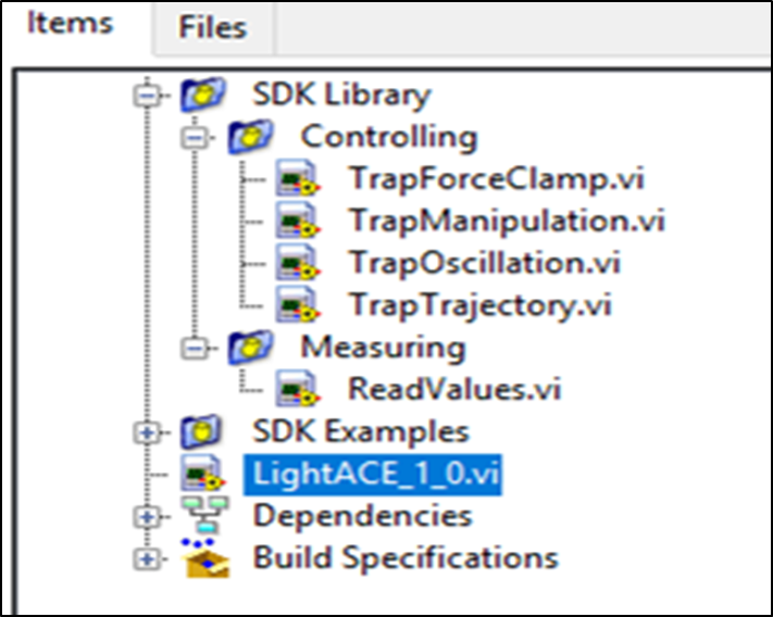 LightAce Software - SENSOCELL optical tweezers control software: custom built routines using our labview based SDK. SDK library